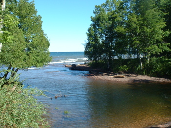 Mouth of the Big Carp River at Lake Superior.