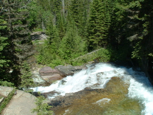 Waterfall in Glacier National Park in Montana