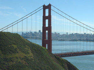 View of San Fransisco and Golden Gate Bridge from Golden Gate State Park.