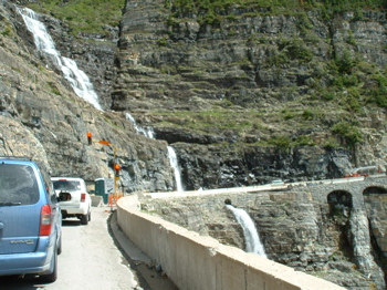 Construction stoplight on Going-to-the-sun road in Glacier National Park, Montana