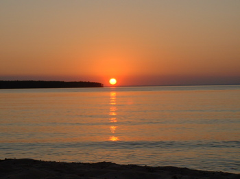Sun setting over Lake Superior.