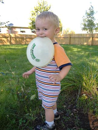 Tristen playing frisbee in the yard.